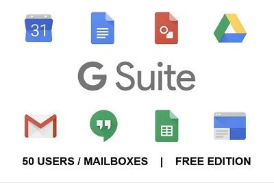 Google Apps G-Suite account free / Standard Edition (50 users/mailboxes) SaaS