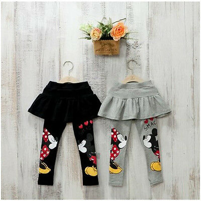 Toddler Girl Mickey Mouse Skirt Pants Baby Kid Stretch Tutu Leggings Trousers