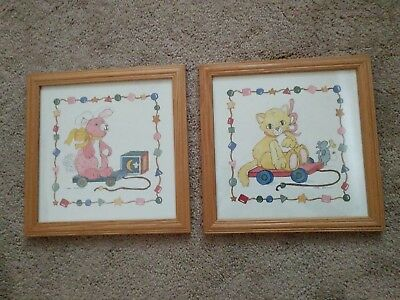 """pair of matched frames """"small pull toys"""" print art"""
