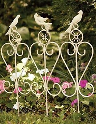Victorian Trading Songbird Trio Wrought Iron Garden Rail Fence Cottage Chic 3E