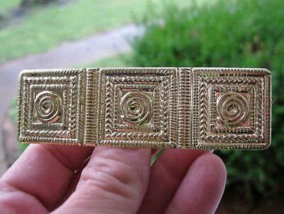 "Vtg Nos Gold Lightweight 3 1/2"" Rectangle Hair Barrette French Clip 70's 80's"
