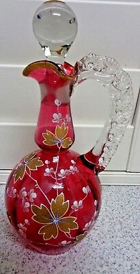 Cranberry Ruby Glass Jug Decanter with Clear Ruffle Handle & Stopper 25.5cm high