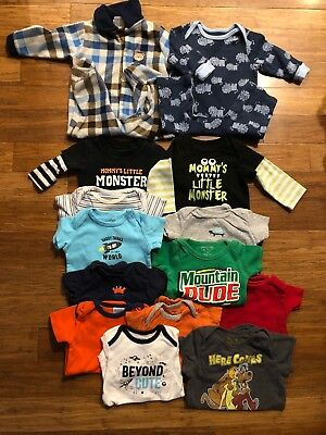 Baby Boy Clothes 3-6 6 Mo Lot Of 14 Pajamas Onsies #19