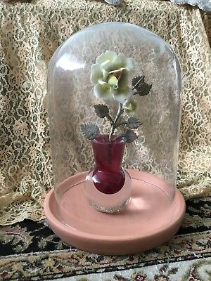"Vintage CLOCK  Display GLASS CLOCHE Bell Jar Terrarium DOME 11 1/2"" H CLAY BASE"