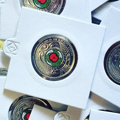 2018 New Zealand 50c Armistice Uncirculated Coin Commemorative Colour red poppy