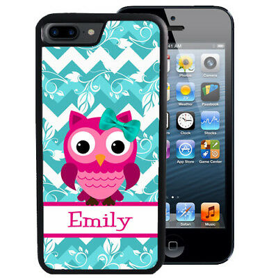 PERSONALIZED CASE FOR iPHONE XR XS MAX X 8 7 6 PLUS RUBBER PINK OWL BLUE CHEVRON