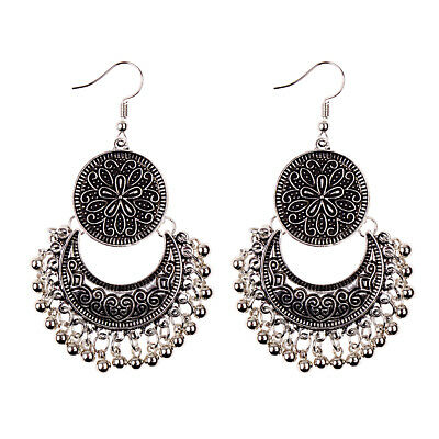 Vintage Retro Silver Carved Tassel Beads Ethnic Earrings Gypsy Indian Jewelry