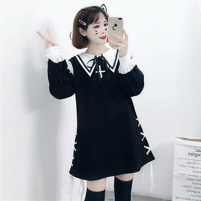 Black Pink Kawaii Girls Dress Cute Embroider Blouse Collar Long Sleeve Dresses