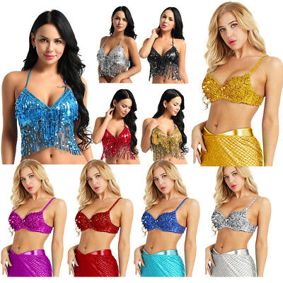 Hot Women Belly Dance Costume Bra Halloween Tops Clothes Outfits Sequins   Beaded dc9617c2dba