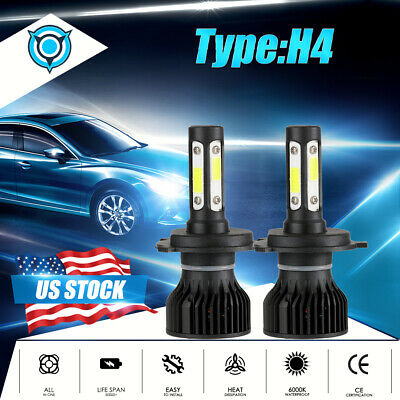 H4 9003 CREE LED Headlight Bulbs Conversion Kit High Low Beam 1900W 285000LM HID