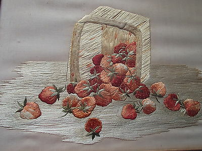 Antique Textile Silk Embroidered Strawberry Basket Framed
