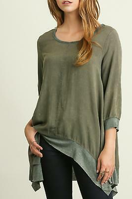 1eea50bd489695 Umgee Womens Small 3 4 Quarter Sleeve Jordyn Top Sharkbite Washed Olive NEW