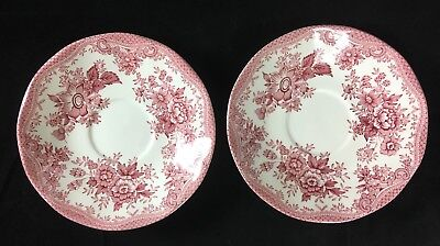 """Two (2) Vintage Pink """"Asiatic Pheasants"""" Parliament for Premiere England Saucers"""