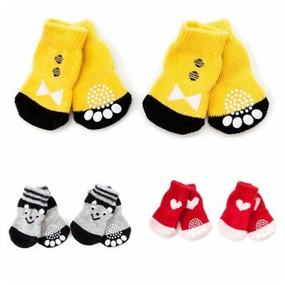 4Pcs Dog Cat Pet Cotton Anti-slip Socks Puppy Knit Weave Warm Skid Bottom Shoes