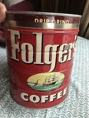 Vintage FOLGERS 4 lb Keywind Coffee Tin Can Ship Key Wind