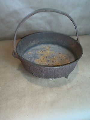 "Antique 3 Leg 11"" Cast Iron Dutch Oven With Gate Mark 1800's Crack Display Piece"