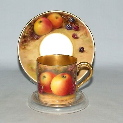 ROYAL WORCESTER HANDPAINTED FRUIT COFFEE can & saucer STINTON POWELL GILT #4