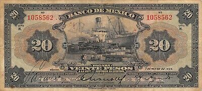 México  20  Pesos  7.3.1934  M 4617g  Series  H  Circulated Banknote MX12