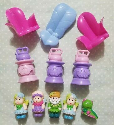 """Lot Of 4 Fairy Figures Dolls Girl Boys With Tea Kettles & Flower Chairs 2"""" Tall"""