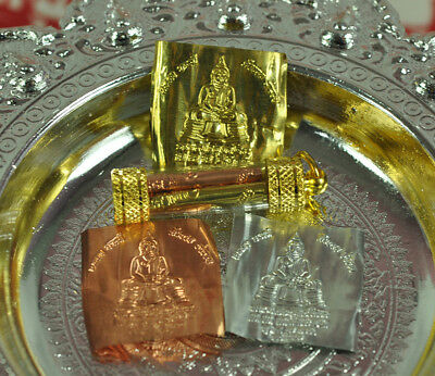 LP Sothorn Takrut 3 Metals Thai Buddha Amulet Talisman Lucky Rich Wealth Protect