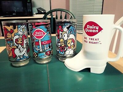 Set of Three Vintage Dairy Queen Glasses and One Plastic Boot Cup