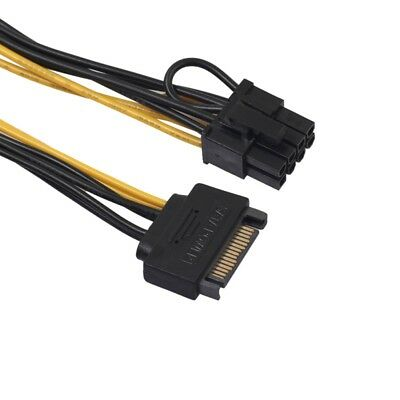 15Pin SATA Male To 8pin(6 2) PCI-E Male Video Card Power Supply Adapter Cable US