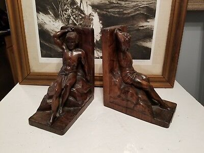 Antique German Black Forest ??? Hand Carved Wood Nude Man Bookends Pair
