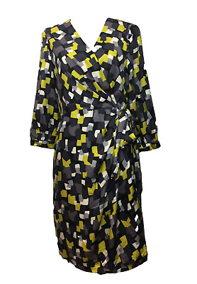 a9eea16f35a NEW BODEN WOMEN S Geometric Dot Wrap Viscose Silk Dress Size US 10 ...