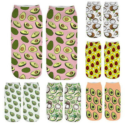 Women's 3D Cartoon Funny Crazy Cute Fruit Dog  Amazing Novelty Print Ankle Socks