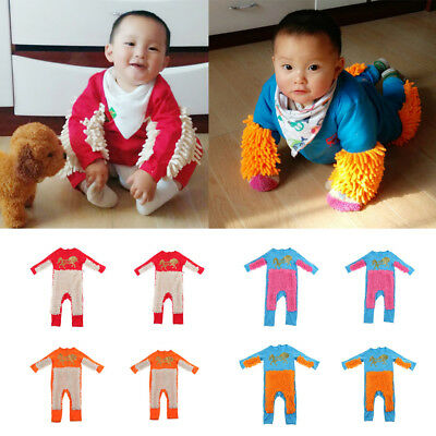 Baby Clothes Long Sleeve Crawling Mop Jumpsuit Boy Girl Romper One Piece