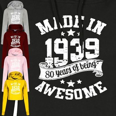 Awesome Made In 1939 80th Years Birthday GIFT Top Inspired Fancy Vintage Hoodie