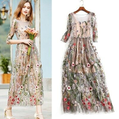 Fashion UK Women Boho Cotton Dress Embroidered Lace Floral Long Sheer Mesh Dress