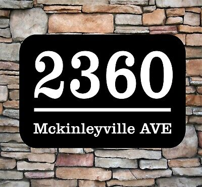 """Personalized House Address Number Sign Aluminum Plaque 12/"""" x 7/"""" Custom Colors"""