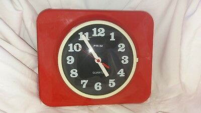 Vintage, retro PRIM red plastic wall clock