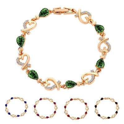 Fashion Rose Gold Bracelet Crystal Heart Bangle Jewelry Best Gift for Women Lady