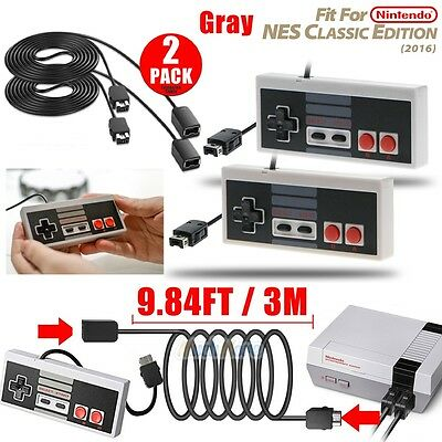 2Packs Game Controller+2 Extension Cable for Nintendo NES Mini Classic Edition