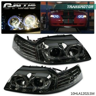 For 1999-2004 Ford Mustang Gt Smoked Housing Amber Projector Headlight