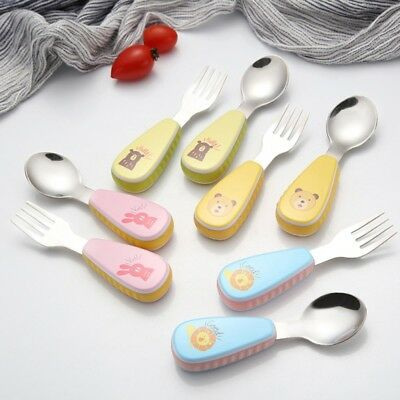 Kids Cartoon Stainless Stee Spoon and Fork Cutlery Set For Infants Toddlers Baby