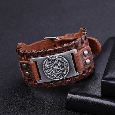 Ancient AmuletNorse Viking Slavic Perun's Axe Charm Metal Brown Leather Bracelet