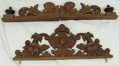 French Antique Solid walnut Wood Crest pediment foliage