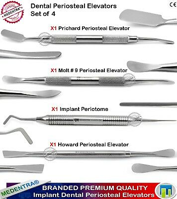 4pc IMPLANT SINUS GUM LIFT PERIOSTEAL ELEVATORS PRICHARD MOLT 9 PERIOTOME DENTAL
