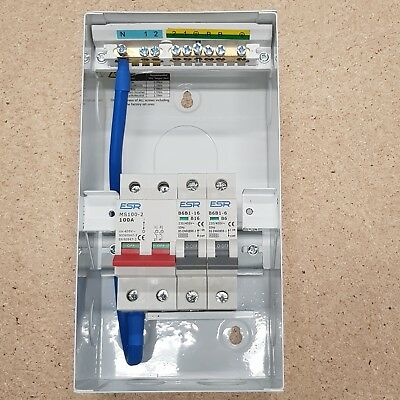 Garage Consumer Unit Metal 100A with 2 MCBs 6A + 16A Circuit Breaker Amendment 3