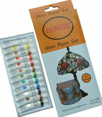 Glass Paints 12ml Transparent Stained Effect + Gold Outliner Tube 30ml Non-Toxic