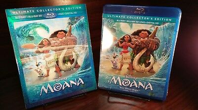 Moana (3D+Blu-ray/DVD,2017,Includes Digital Copy)Lenticular Cover-NEW-Free S&H