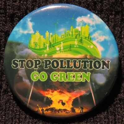 Pin Button Badge Ø38mm Stop Pollution Go Green