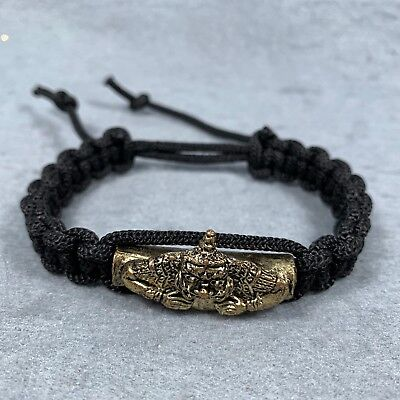 Bracelet Bangle Rope Brass Phra Rahu Om Jun LP Noi Thai Amulet Buddha Talisman
