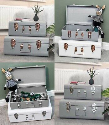 Set of Two Metal Storage Trunks with Chrome Copper Handles Grey and White
