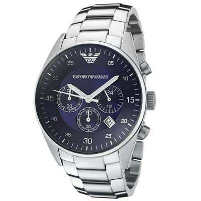Brand New Emporio Armani Ar5860 Mens Stainless Steel Blue Dial Watch Uk Stock