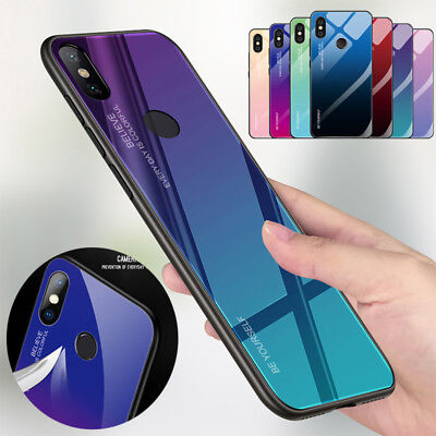 Shockproof Gradient Tempered Glass Back Case Cover For Xiaomi Redmi Note 6 5 Pro