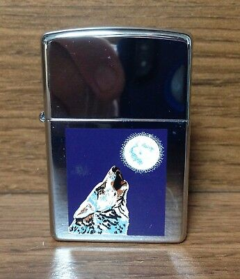 Vintage 1990's Zippo Lighter Full Moon Howling Wolf  Sealed Unused